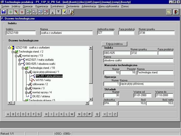 Przykład implementacji informacji technologicznych w systemie informatycznym klasy ERP
