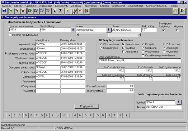 Rys. 2. Przykład zarejestrowanych zdarzeń na karcie Kanban w aplikacji TETA 2000